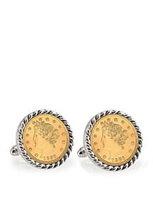 Gold Layered Liberty Nickel Silver Tone Rope Bezel Cufflinks