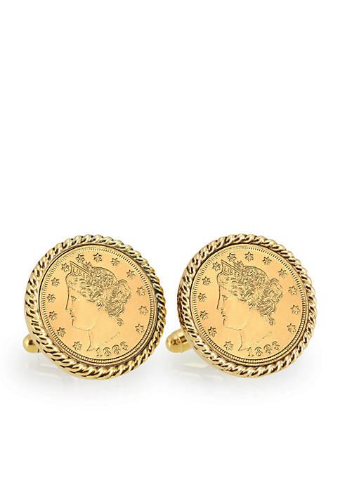 Gold Layered Liberty Nickel Gold Tone Rope Bezel Cufflinks