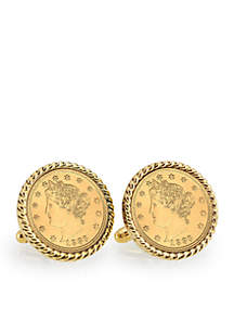 Gold Layered Liberty Nickel Gold Tone Rope Bezel Cufflinks