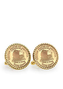 Gold-Layered 2004 Keelboat Gold-Tone Rope Bezel Cufflinks