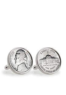 UPM Global Silver Jefferson Nickel Wartime Nickel Sterling Silver Cufflinks