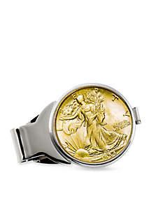 UPM Global Gold-Layered Silver Walking Liberty Half Dollar Money Clip