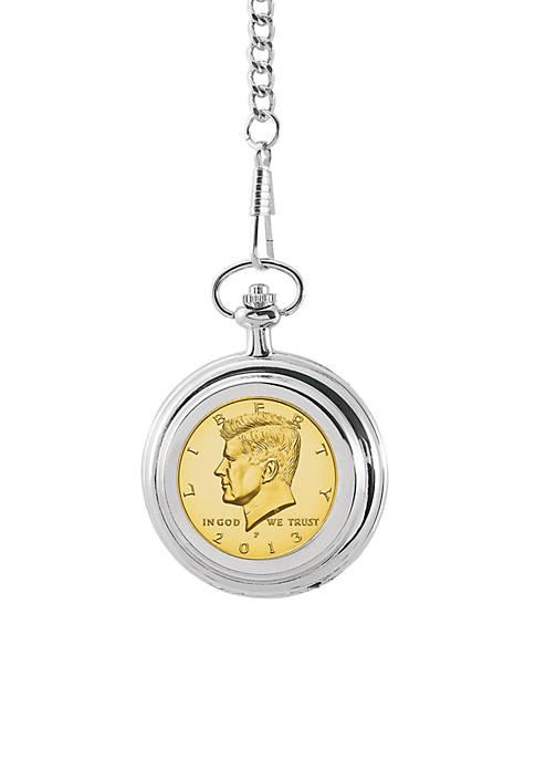 UPM Global Gold-Layered JFK Half Dollar Pocket Watch