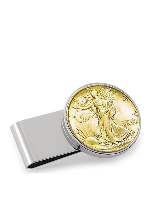 Gold-Layered Silver Walking Liberty Half Dollar Money Clip