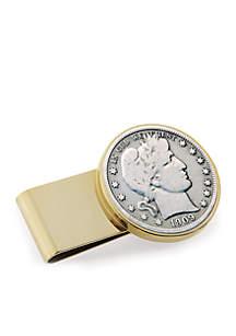 UPM Global Silver Barber Half Dollar Stainless Steeel Gold-Tone Money Clip
