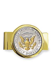 UPM Global Selectively Gold Layered Presidential Seal JFK Half Dollar Gold Tone Money Clip