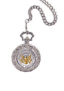 Selectively Gold Layered Presidential Seal Pocket Watch