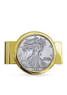 UPM Global Walking Liberty Silver Half Dollar Gold Tone Money Clip