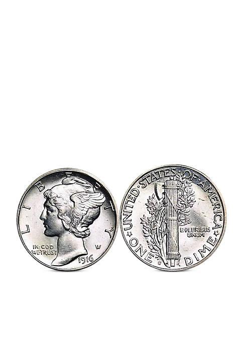 Silver Mercury Dime Cufflinks