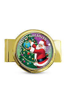 UPM Global Goldtone Money Clip with Colorized JFK Half Dollar Santa Coin