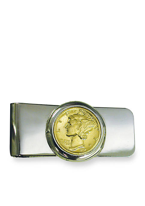 Silver Tone Money Clip With Gold Layered Silver Mercury Dime