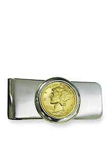 UPM Global Silver Tone Money Clip With Gold Layered Silver Mercury Dime