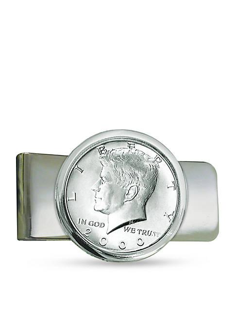 Silver Tone JFK Half Dollar Money Clip