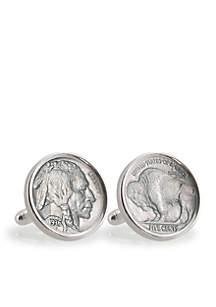 Buffalo Nickel Sterling Silver Cufflinks