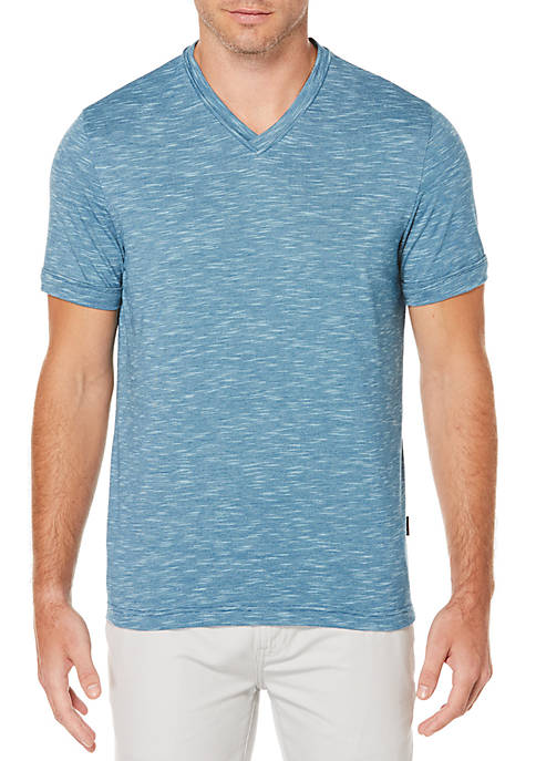 Perry Ellis® Marled Slub V-Neck Shirt