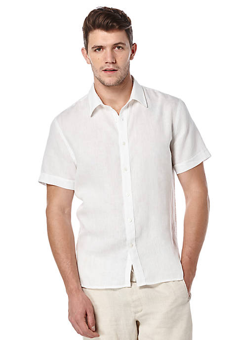 Perry Ellis® Short Sleeve Solid Linen Shirt