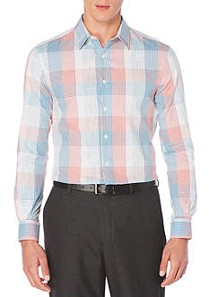 Perry Ellis® Long Sleeve Ombre Space Dye Plaid Shirt