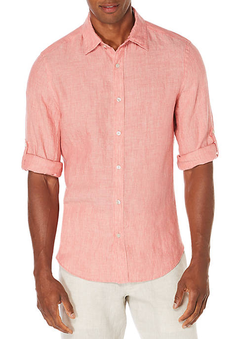 Perry Ellis® Solid Rolled-Sleeve Linen Shirt