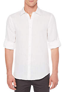 Solid Rolled-Sleeve Linen Shirt