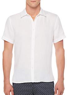 Short Sleeve Solid Chambray Linen Shirt