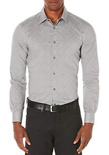 Long Sleeve Neat Paisley Print Shirt