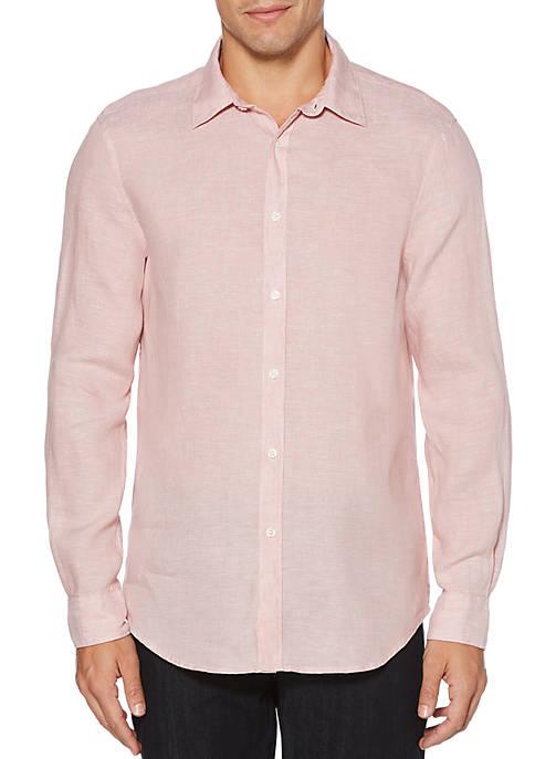 Solid Linen Roll Sleeve Button Down Shirt