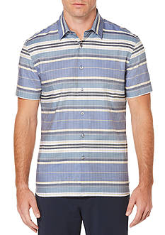 Perry Ellis® Short Sleeve Stripe Ladder Lined Twill Shirt