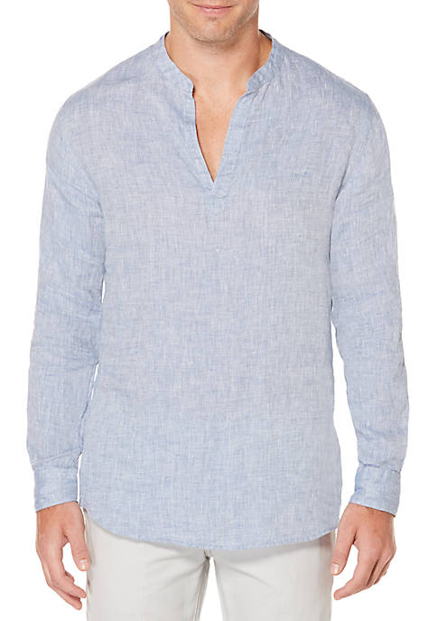Long Sleeve Solid Linen Popover Banded Collar Shirt