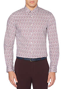Perry Ellis® Long Sleeve Print Straight Fit Shirt