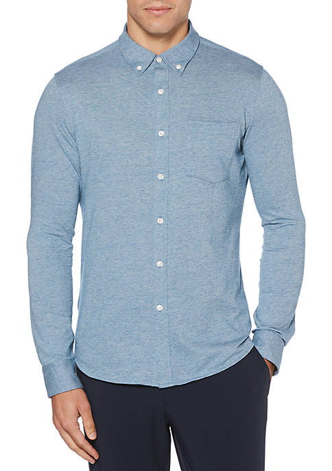 Perry Ellis® Long Sleeve Slim Fit Knit Shirt