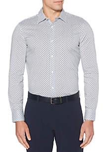 Perry Ellis® Long Sleeve Slim Dot Print Shirt