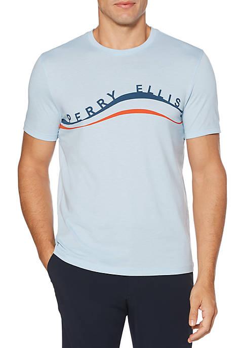 Perry Ellis® Short Sleeve Wave Print Crew Neck