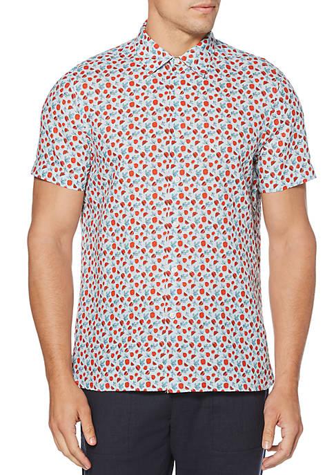 Perry Ellis® Linen Floral Print Untucked Short Sleeve
