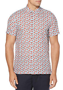 Perry Ellis® Linen Floral Print Untucked Short Sleeve Button Down Shirt