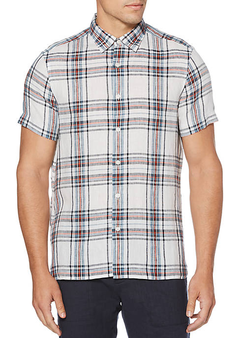 Perry Ellis® Linen Plaid Untucked Short Sleeve Button