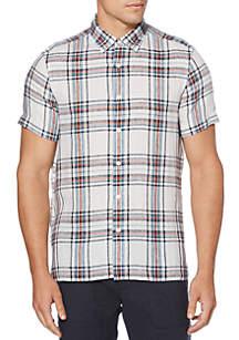 Perry Ellis® Linen Plaid Untucked Short Sleeve Button Down Shirt