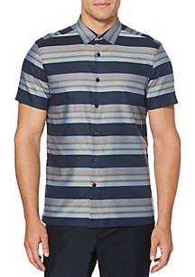 Perry Ellis® Short Sleeve Multi Strip Button Down Shirt