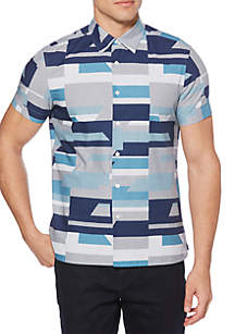 Short Sleeve Oversized Geo Print Woven Shirt