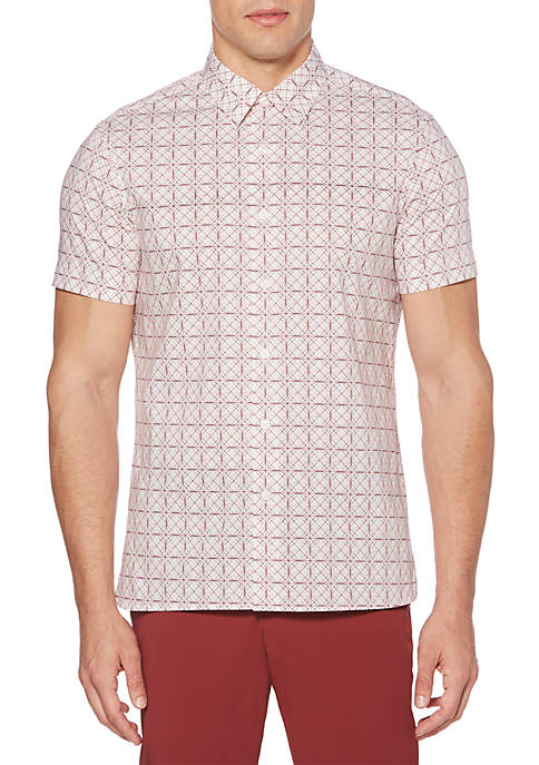Perry Ellis® Short Sleeve Small Geometric Print Shirt