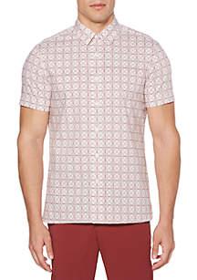 Short Sleeve Small Geometric Print Shirt