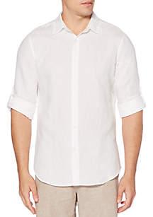 Solid Linen Roll Sleeve Shirt