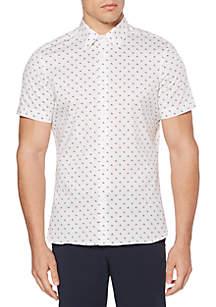 Short Sleeve Arrowhead Print Stretch Button Down Shirt