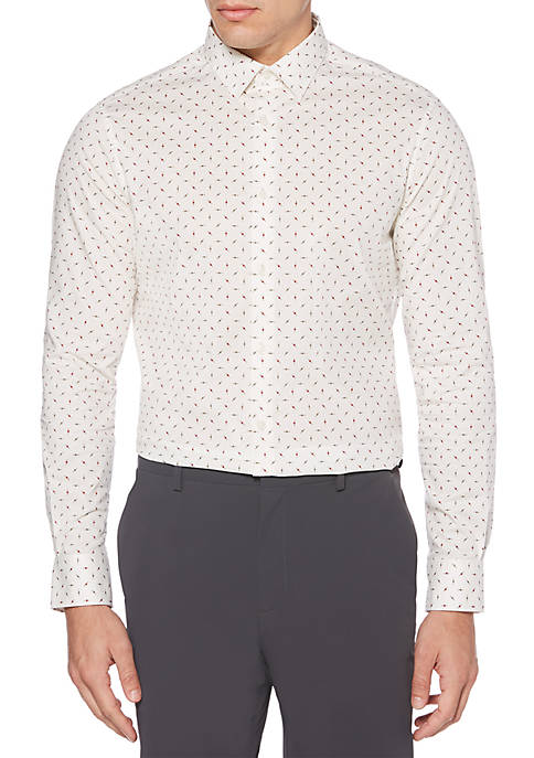 Perry Ellis® Long Sleeve Stretch Dot Print Button