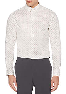 Long Sleeve Stretch Dot Print Button Down Shirt