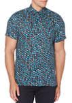 Mens Short Sleeve Linen Marble Print Shirt