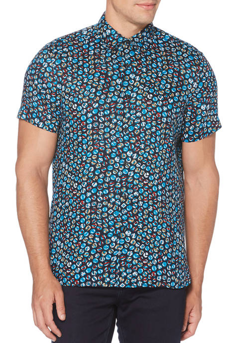 Perry Ellis® Mens Short Sleeve Linen Marble Print