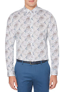 Perry Ellis® Long Sleeve Floral Feather Woven Shirt