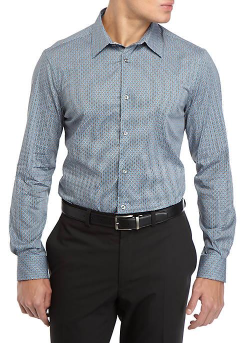 Perry Ellis® Mens Long Sleeve Medallion Woven Shirt