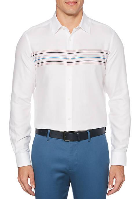 Perry Ellis® Dobby Engineered Stripe Long Sleeve Button