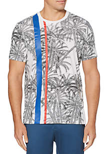 Perry Ellis® Palm Print Short Sleeve Crew Neck T Shirt